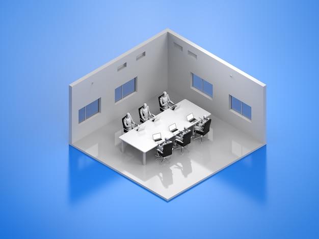 Salle de séminaire ou salle de conférence de rendu 3d isométrique avec des cyborgs assis dans une rangée