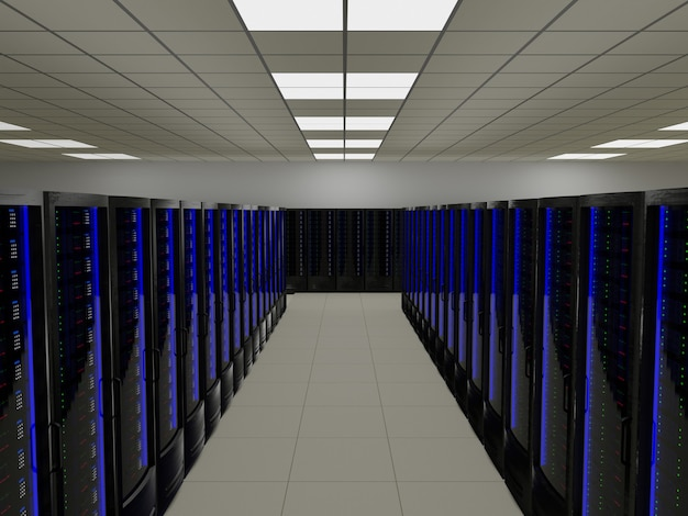 Salle de serveurs futuriste moderne avec grand centre de données