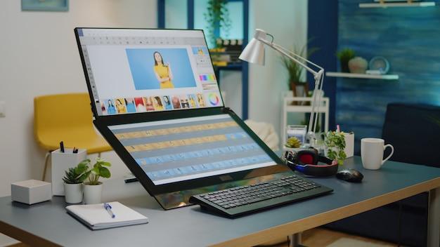 Salle de studio de retouche vide avec logiciel de montage
