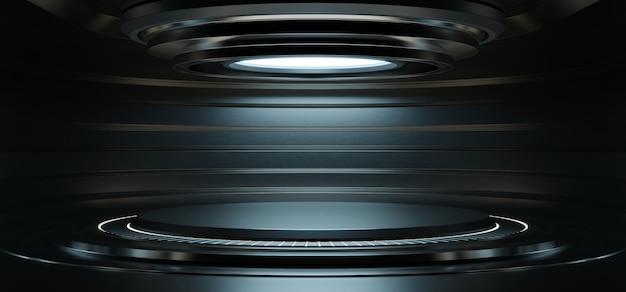 Salle de studio vide bleu clair futuriste sci fi grande salle avec des lumières bleues, fond futur