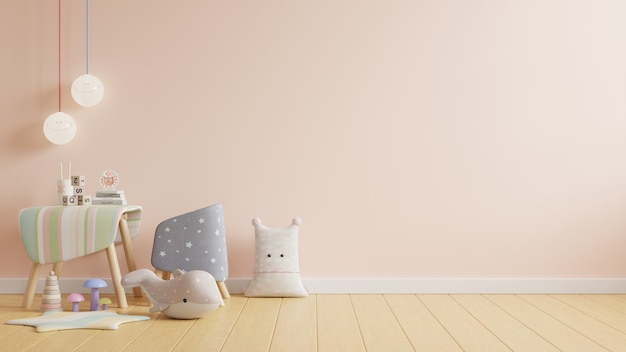 Salle de travail des enfants, mur dans la chambre des enfants dans un mur de couleur crème clair, rendu 3d