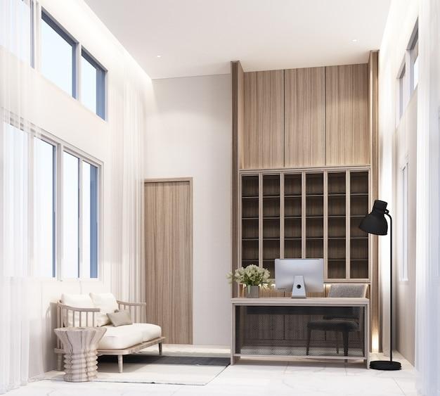 Salle de travail à la maison avec table de travail ordinateur et chaise étagère à livres armoire intégrée avec salon sur carrelage en marbre blanc et rendu 3d pur