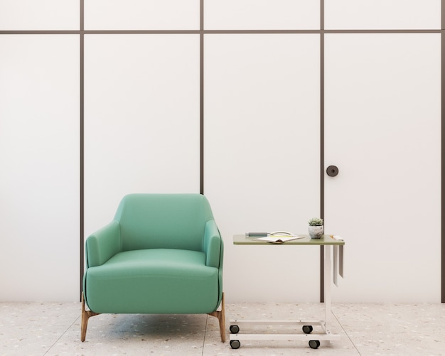 Salle de vaccination avec fauteuil et équipement médical dont une seringue sur la table rendu 3d