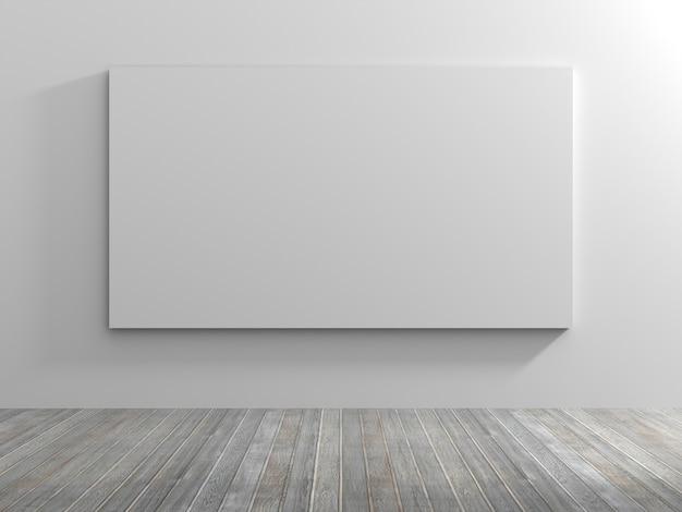 Salle vide blanche avec un cadre vide. rendu 3d.