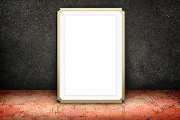 Salle vide avec cadre de photo en marbre blanc au mur de pierre noire et plancher de brique de modèle vintage