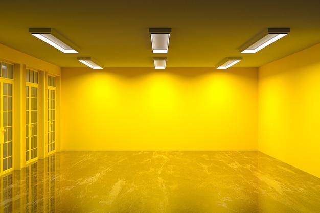 Salle vide couleur de mur multiple avec sol en marbre et beau rendu 3d lumineux