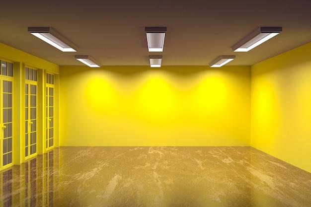 Salle vide couleur de mur multiple avec sol en marbre et belle lumière, rendu 3d