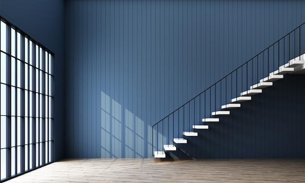 Salle vide avec escalier et fenêtre