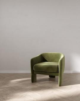 Salle vide avec fauteuil vert fond intérieur rendu 3d