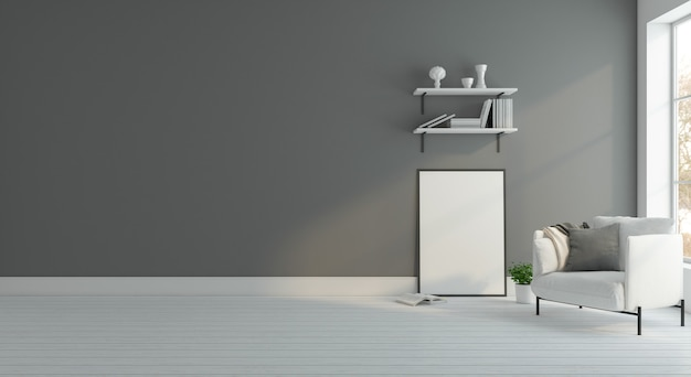 Salle vide minimaliste avec fauteuil et étagère de livre mur gris cadre photo rendu 3d