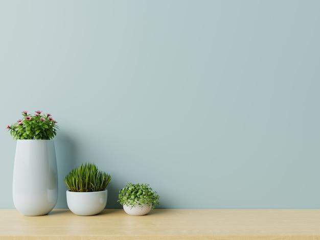 Salle vide moderne avec des plantes sur plancher en bois
