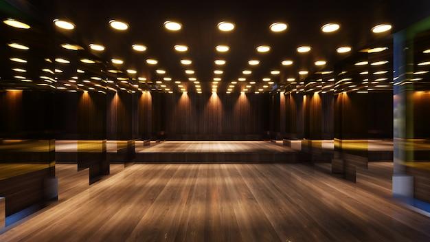 Salle vide avec des murs en bois pour le rendu 3d de studio de télévision
