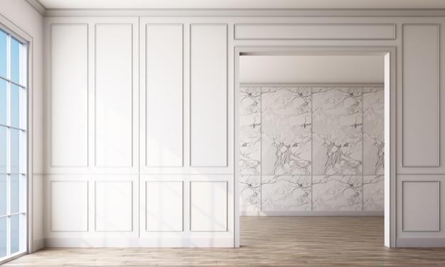 Salle vide avec panneaux blancs et plancher en bois
