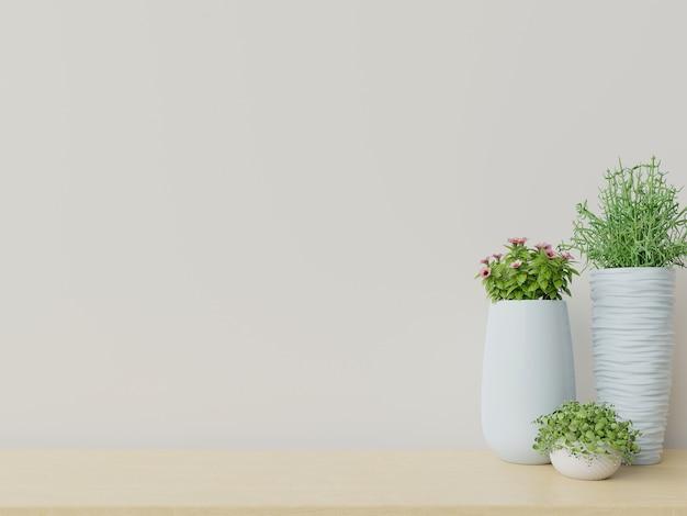 Salle vide avec des plantes ont un plancher en bois.