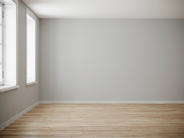 Salle vide pour maquette. roon vide avec mur clair et plancher en bois. rendu 3d.