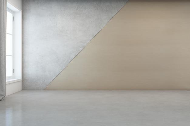 Salle vide avec sol en béton blanc et mur en bois dans une maison moderne.