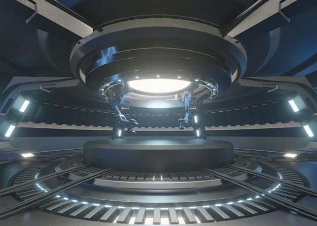 Les salles du futur avec le podium et ont un bras mécanique pour la poignée de la chose de la recherche.
