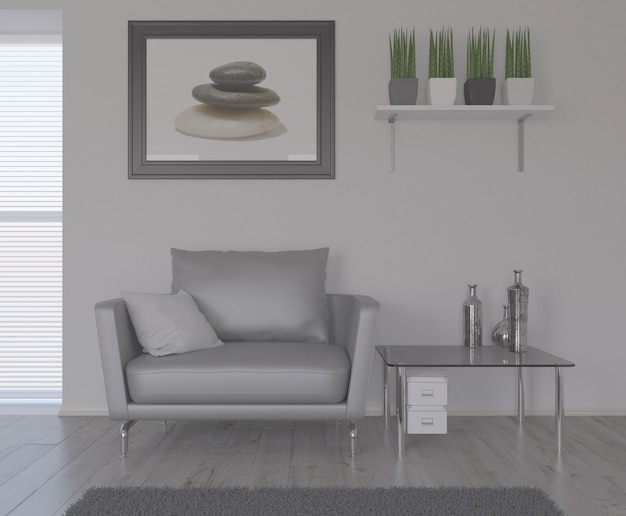 Salon 3d contemporain intérieur et mobilier moderne