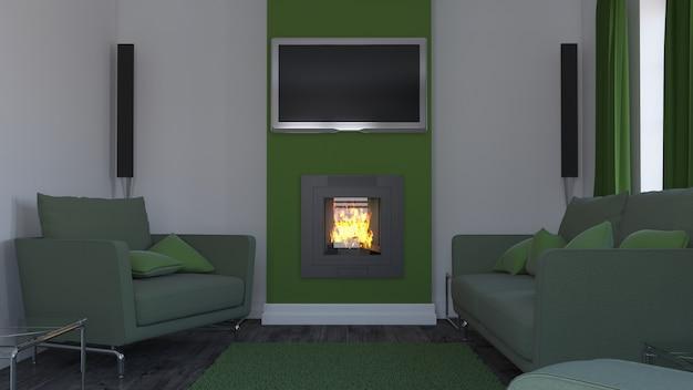 Salon 3d contemporain mobilier intérieur et moderne