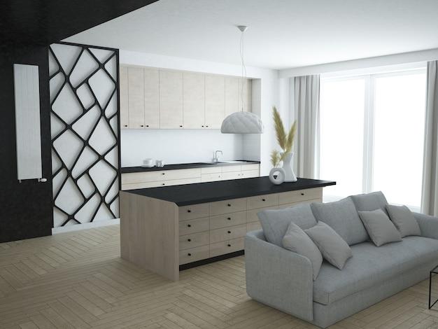 Salon appartement luxueux moderne avec cuisine