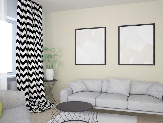 Salon beige avec table basse canapé et grandes affiches