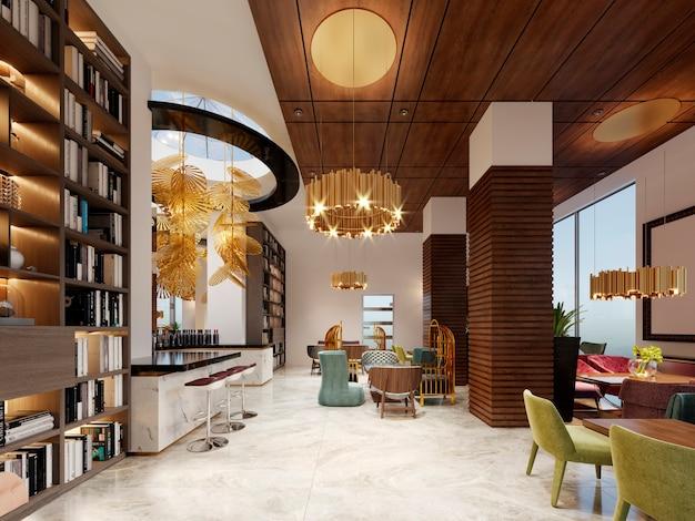 Salon bibliothèque avec bar de style moderne. rendu 3d.