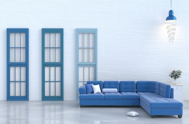 Salon blanc avec canapé bleu, cloison en bois, oreiller, rose blanche. noël et nouvel an. 3