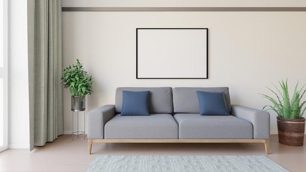 Salon blanc avec canapé.