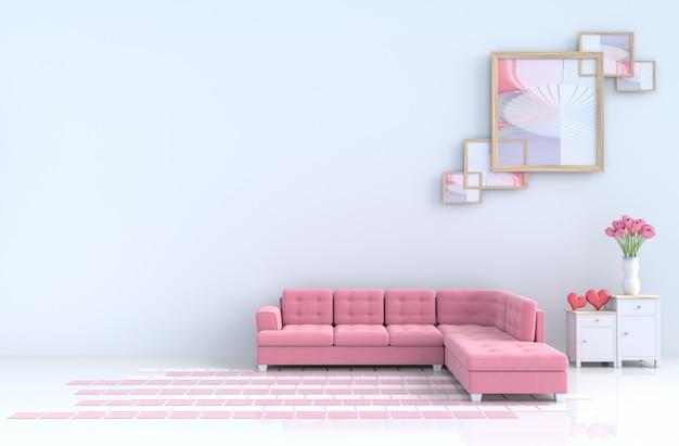Salon blanc de décor d'amour avec canapé rouge, coeur rouge le jour de la saint-valentin. rendu 3d.
