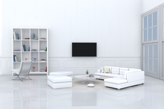 Salon blanc décor canapé blanc, oreillers, bibliothèque, chaise, télévision, fenêtre, tapis crème.