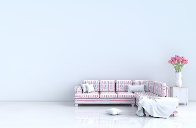 Salon blanc le jour de la saint-valentin et du nouvel an, canapé rose rayé, carreaux, tulipes. rendu 3d
