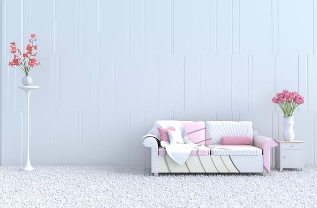 Salon blanc le jour de la saint-valentin et nouvel an, canapé rose rayé, tapis, tulipes. rendu 3d