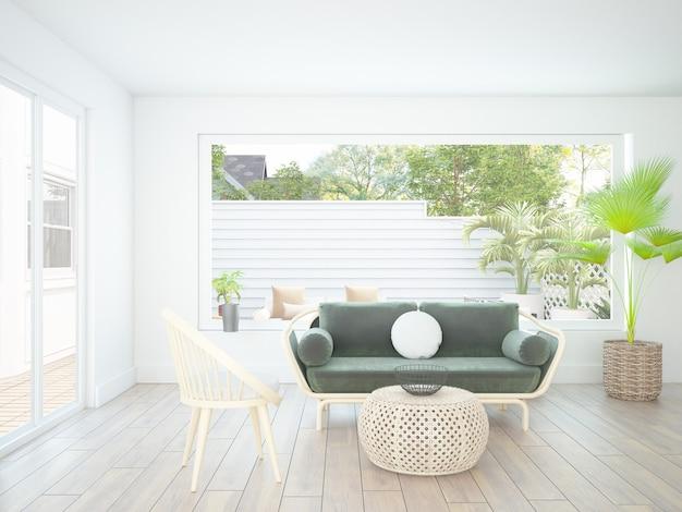 Salon blanc moderne et élégant avec des meubles en textile en velours
