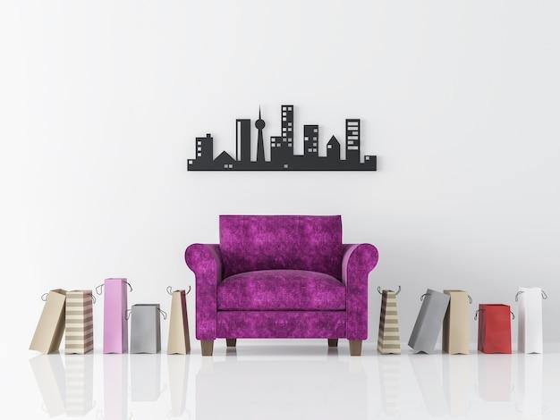 Salon blanc moderne intérieur style minimaliste rendu 3d il y a des fauteuils violets sac à provisions