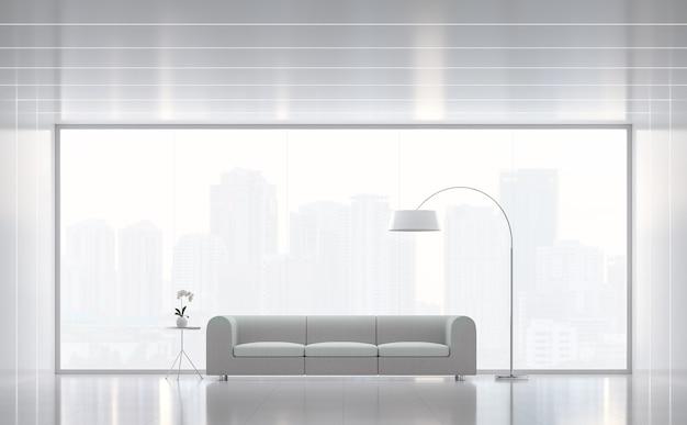 Salon blanc moderne style minimal rendu 3d il y a de grandes fenêtres donnant sur la ville