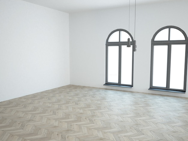 Salon blanc presque vide avec plancher de bois franc