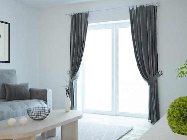 Salon blanc avec rideaux en velours foncé et canapé gris