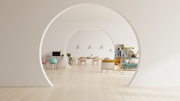 Salon blanc et salle à manger moderne avec mobilier en bois.