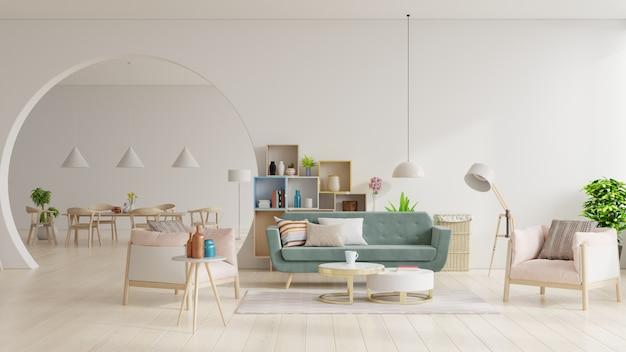 Salon Blanc Et Salle à Manger Moderne Avec Mobilier En Bois. Photo Premium
