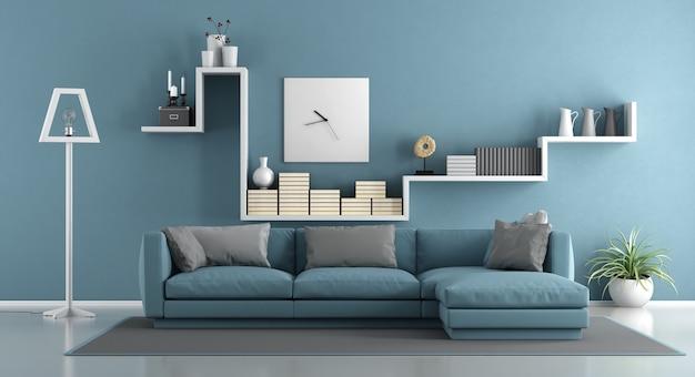 Salon bleu avec canapé et étagère. rendu 3d