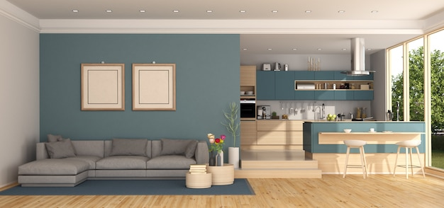 Salon bleu avec cuisine sur fond