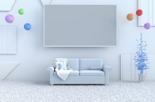 Salon bleu avec sapin de noël bleu