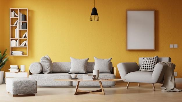 Salon cadre intérieur avec canapé blanc coloré