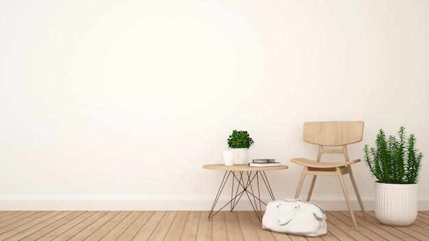 Salon ou café et espace pour les œuvres d'art - rendu 3d