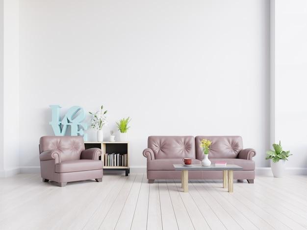 Salon avec canapé en cuir, plantes et armoire sur fond de mur blanc vide