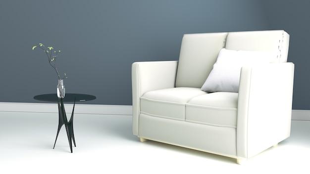 Salon avec canapé, derrière le fond du mur sombre. rendu 3d