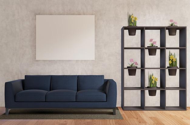 Salon avec canapé, fleurs, mur de béton, plancher de bois rendu 3d