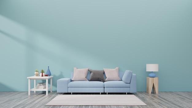 Salon avec canapé, petite étagère et plantes ont un fond de mur bleu arrière