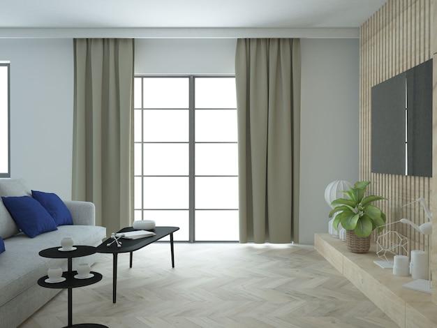 Salon avec canapé rideaux et mur tv