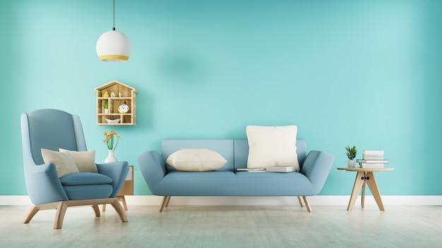 Salon avec canapé en tissu bleu, fauteuil bleu, lampe et plante verte dans un vase sur fond de mur blanc. rendu 3d